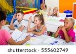 little american children... | Shutterstock . vector #555602749