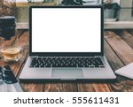 office wood table with notepad  ... | Shutterstock . vector #555611431