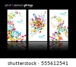 set of abstract colorful music... | Shutterstock .eps vector #555612541