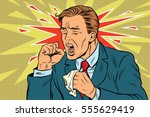 sick man coughing. pop art... | Shutterstock .eps vector #555629419