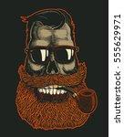 skull hipster with mustache ... | Shutterstock .eps vector #555629971