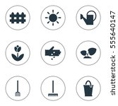 set of 9 editable plant icons....