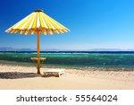 Wood Umbrella On Beach With...