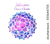 watercolor crown chakra... | Shutterstock .eps vector #555644755