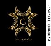 golden wings frame luxury... | Shutterstock .eps vector #555649879