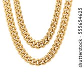 Small photo of Gold Chain Isolated on White Background. Golden Jewelry