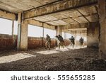 Small photo of Army soldiers during the military operation. war, army, technology and people concept
