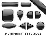 Set Of Black Glass Buttons With ...