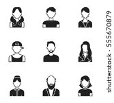 avatar set icons in black style.... | Shutterstock .eps vector #555670879