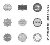 label set icons in monochrome... | Shutterstock .eps vector #555672781