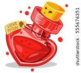 love potion in glass bottle.... | Shutterstock .eps vector #555676351