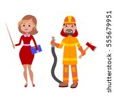 people teacher and firefighter... | Shutterstock .eps vector #555679951