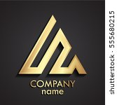 3d gold linear shape triangle... | Shutterstock .eps vector #555680215