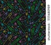 vector seamless pattern of vape ... | Shutterstock .eps vector #555680989
