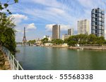 View on Seine river and skyscrapers in Paris, France. - stock photo