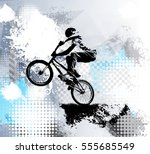 biker  sport illustration ... | Shutterstock .eps vector #555685549