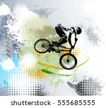 biker  sport illustration ... | Shutterstock .eps vector #555685555