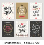vector set of valentine's day... | Shutterstock .eps vector #555688729