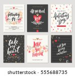 vector set of valentine's day... | Shutterstock .eps vector #555688735