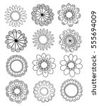 set of flower doodles | Shutterstock .eps vector #555694009