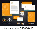 orange abstract vector logos... | Shutterstock .eps vector #555694495