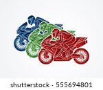 3 motorcycles racing side view... | Shutterstock .eps vector #555694801