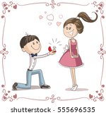 man asking woman to marry him... | Shutterstock .eps vector #555696535