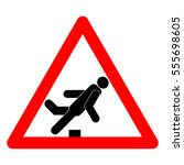 obstacle. warning sign | Shutterstock .eps vector #555698605