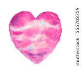 cute watercolor heart symbol... | Shutterstock . vector #555703729