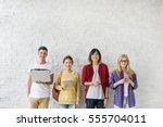 diversity friends using digital ... | Shutterstock . vector #555704011