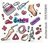 diabetes. drawing doodle... | Shutterstock . vector #555705895