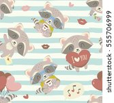 vector cartoon style valentine... | Shutterstock .eps vector #555706999