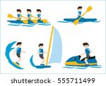 sea sports icons rowing sailing ... | Shutterstock .eps vector #555711499