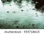 raindrops in a puddle | Shutterstock . vector #555718615