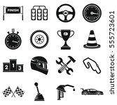 racing speed icons set. simple... | Shutterstock . vector #555723601