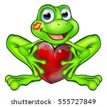 cartoon frog fairy tale mascot...   Shutterstock .eps vector #555727849
