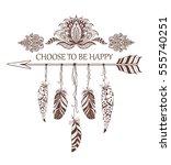 hand drawn boho style design... | Shutterstock .eps vector #555740251