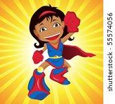 black super hero girl. editable ... | Shutterstock .eps vector #55574056