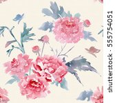 abstract floral seamless... | Shutterstock . vector #555754051