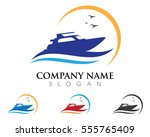 cruise ship logo template... | Shutterstock .eps vector #555765409