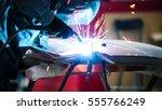 welding industrial  worker in... | Shutterstock . vector #555766249