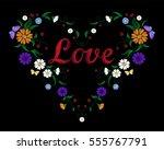 embroidery crewel flower heart... | Shutterstock .eps vector #555767791
