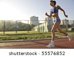 beautiful young woman exercise... | Shutterstock . vector #55576852