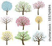valentine's day tree... | Shutterstock .eps vector #555769894