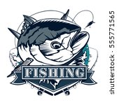 tuna fishing logo isolated on... | Shutterstock .eps vector #555771565