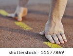 Small photo of healthy young man at start line ready for run race and win