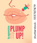 cartoon poster with giant lips. ...   Shutterstock .eps vector #555787879