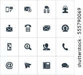set of 16 simple contact icons. ... | Shutterstock .eps vector #555790069