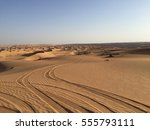Tire Tracks In Omani Desert