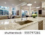 white kitchen design features... | Shutterstock . vector #555797281